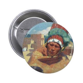 Taos Native American Indian Portrait, Blumenschein 2 Inch Round Button