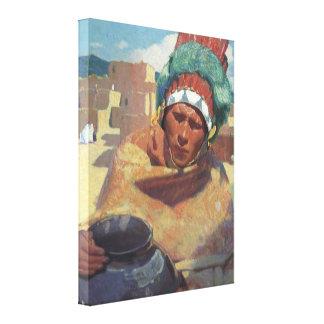 Taos Native American Indian Portrait, Blumenschein Canvas Print