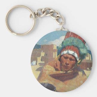 Taos Native American Indian Portrait, Blumenschein Basic Round Button Keychain