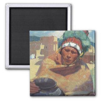 Taos Native American Indian Portrait, Blumenschein 2 Inch Square Magnet