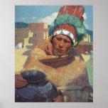 Taos Native American Indian Portrait, Blumenschein Poster