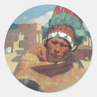 Taos Native American Indian Portrait, Blumenschein Classic Round Sticker