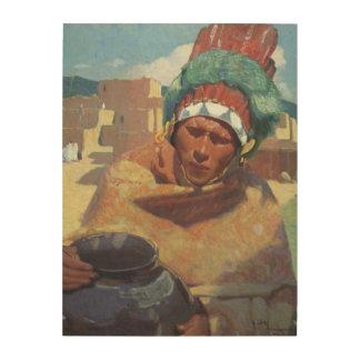 Taos Native American Indian Portrait, Blumenschein Wood Wall Art