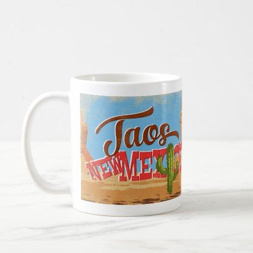 Taos New Mexico Cartoon Desert Vintage Travel Coffee Mug
