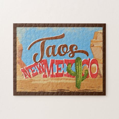 Taos New Mexico Cartoon Desert Vintage Travel Jigsaw Puzzle