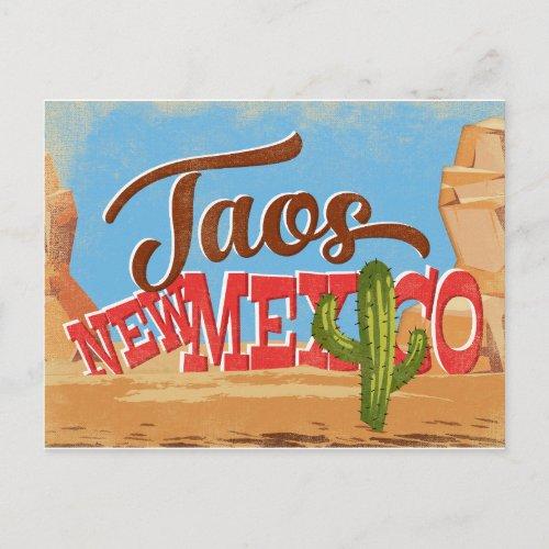 Taos New Mexico Cartoon Desert Vintage Travel Postcard