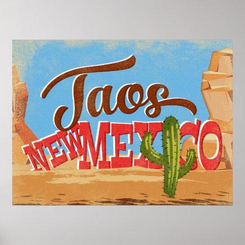 Taos New Mexico Cartoon Desert Vintage Travel Poster