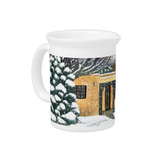 Taos, New Mexico Snowfall Beverage Pitcher