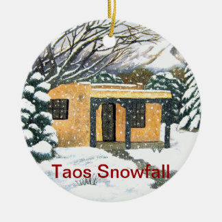 Taos, New Mexico Snowfall Double-Sided Ceramic Round Christmas Ornament