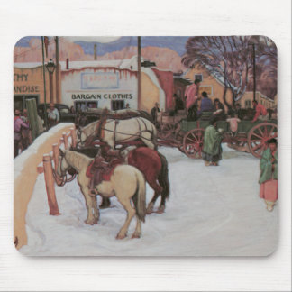 Taos Plaza in Winter Mouse Pad