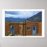 Taos Pueblo 2 blue doors Posters