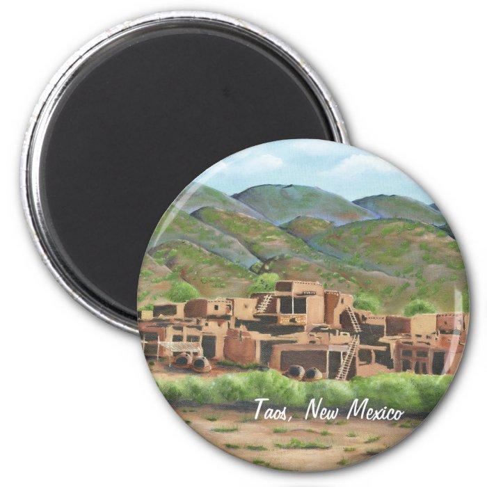 Taos Pueblo, New Mexico 2 Inch Round Magnet
