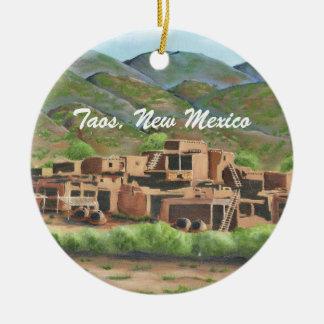 Taos Pueblo, New Mexico Ceramic Ornament