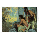 Taos Turkey Hunters by Couse, Vintage Indians Greeting Card