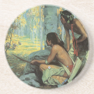 Taos Turkey Hunters by Couse, Vintage Indians Beverage Coasters