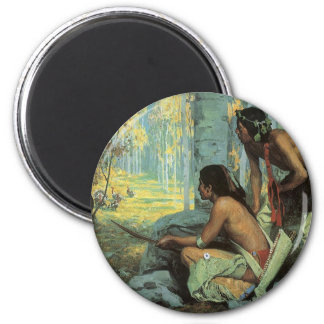 Taos Turkey Hunters by Couse, Vintage Indians 2 Inch Round Magnet