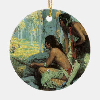 Taos Turkey Hunters by Couse, Vintage Indians Double-Sided Ceramic Round Christmas Ornament