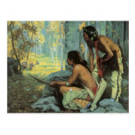 Taos Turkey Hunters by Couse, Vintage Indians Post Card
