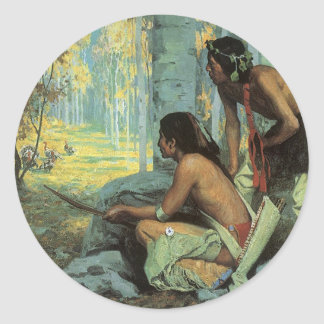 Taos Turkey Hunters by Couse, Vintage Indians Classic Round Sticker