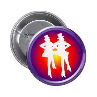 Tap dancers on a multi-colored background pinback button