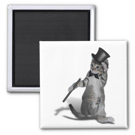 Tap Dancing Cat 2 Inch Square Magnet