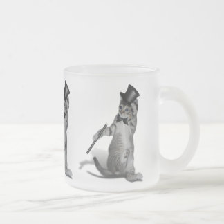 Tap Dancing Cat Frosted Glass Coffee Mug