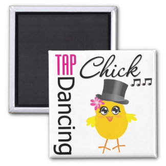 Tap Dancing Chick 2 2 Inch Square Magnet