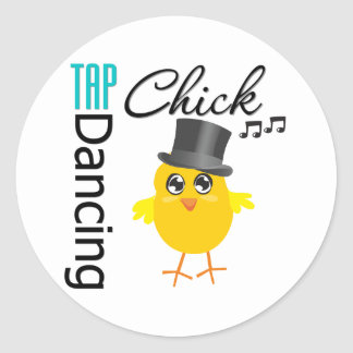 Tap Dancing Chick 4 Round Stickers