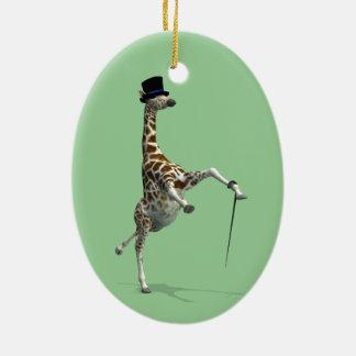 Tap Dancing Giraffe Ceramic Ornament