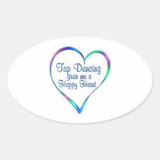Tap Dancing Happy Heart Oval Sticker