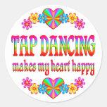 Tap Dancing Heart Happy Classic Round Sticker