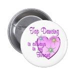 Tap Dancing Heart Pinback Buttons