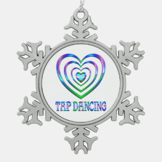 Tap Dancing Hearts Snowflake Pewter Christmas Ornament
