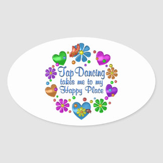 Tap Dancing My Happy Place Oval Sticker