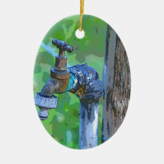 TAP ON A FENCE POST IN RURAL AUSTRALIA CERAMIC ORNAMENT