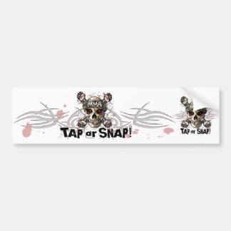 Tap or Snap MMA Skull Gear Car Bumper Sticker