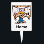 """Tap Out Wrestlers Cake Topper<br><div class=""""desc"""">Two wrestlers on the mat under a big WRESTLING banner and Tap Out or Pass Out slogan! High color,  intense wrestling graphics show your love of wrestling! Wrestling gifts for every wrestler and wrestling fan!</div>"""
