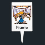 "Tap Out Wrestlers Cake Topper<br><div class=""desc"">Two wrestlers on the mat under a big WRESTLING banner and Tap Out or Pass Out slogan! High color,  intense wrestling graphics show your love of wrestling! Wrestling gifts for every wrestler and wrestling fan!</div>"