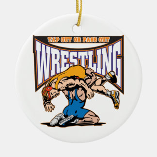 Tap Out Wrestlers Ceramic Ornament