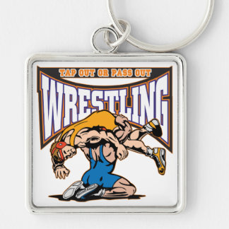 Tap Out Wrestlers Silver-Colored Square Keychain