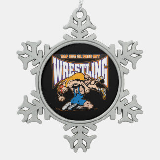 Tap Out Wrestlers Snowflake Pewter Christmas Ornament