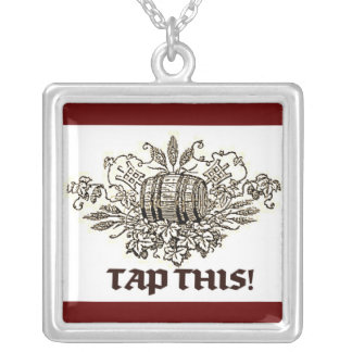 TAP THIS BEER KEG AND HOPS PRINT SQUARE PENDANT NECKLACE