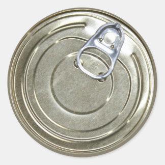 Tapa de la lata pegatina redonda