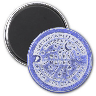 Tapa del contador del agua en azul imán redondo 5 cm