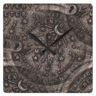 Tapas del contador del agua, New Orleans Reloj Cuadrado