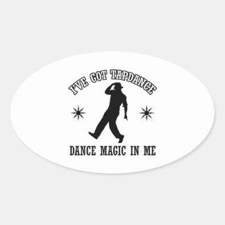 tapdance dance design oval sticker