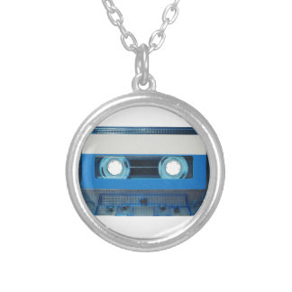 Tape cassette transparent background silver plated necklace