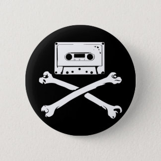 Tape & Crossbones Music Pirate Piracy Home Taping Button