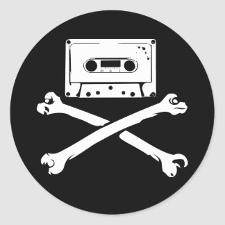 Tape & Crossbones Music Pirate Piracy Home Taping Classic Round Sticker