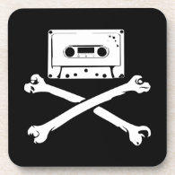 Tape & Crossbones Music Pirate Piracy Home Taping Drink Coasters